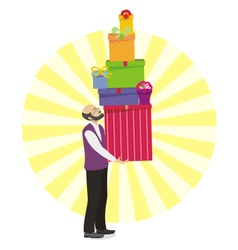 Old men with great gift in hand vector image