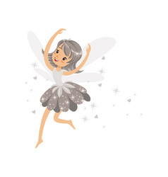 beautiful smiling gray fairy girl flying colorful vector image vector image