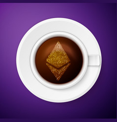 cup of coffee with ethereum symbol vector image