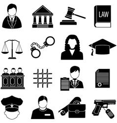 justice law icons set vector image
