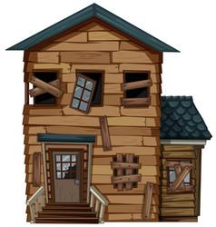 old house with broken door and windows vector image vector image