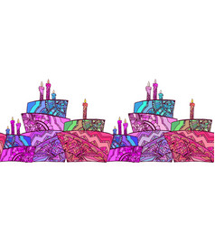 seamless border with cake vector image