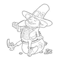 elf leprechaun smoking pipe vector image
