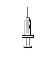 Line syringe medical tool to treatment injection vector