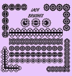 seamless lace patterned brushes set for design vector image
