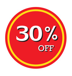 30 off discount price tag isolated vector
