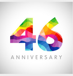 46 anniversary colorful facet logo vector image