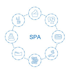 8 spa icons vector