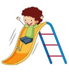 A boy playing on slide on white background vector