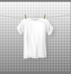 A dripping white t-shirt hanging vector
