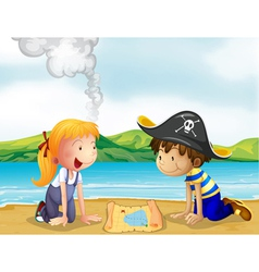 A girl and boy studying the map vector