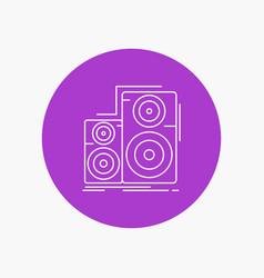Audio hifi monitor speaker studio white line icon vector