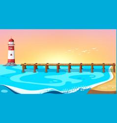 Beach scene with pier vector