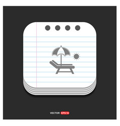 Beach umbrella with bed icon gray icon on notepad vector