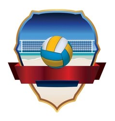 Beach volleyball badge vector