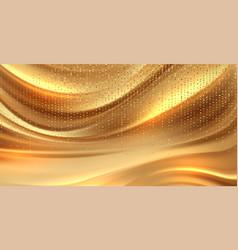 beautiful gold satin drapery background vector image