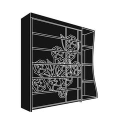 black bedroom wardrobe with cellswardrobe with a vector image