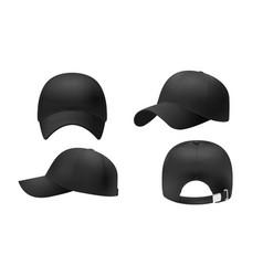 Black cap mockup realistic style vector