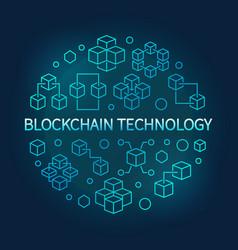 Blockchain technology round blue line vector