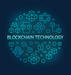 blockchain technology round blue line vector image