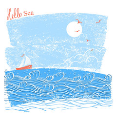 Blue seascaper with sailing ship of vector