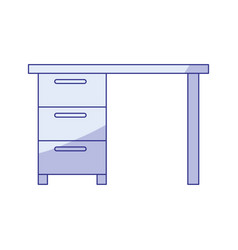 blue shading silhouette of wooden office desk with vector image