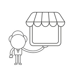businessman character holding shop store black vector image