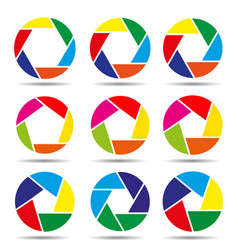 camera shutter icons colorful vector image