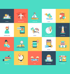 captivating pack travel icons vector image