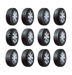 Car tires 3d isolated icons with tread vector