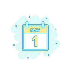 cartoon colored may 1 calendar icon in comic vector image