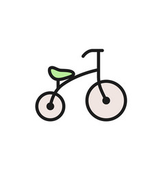 children bicycle flat color icon isolated vector image