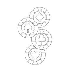 Chips diamond heart clover spade suit casino vector