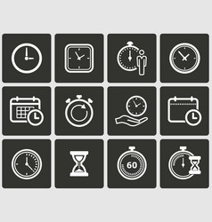 Clock time icons set vector