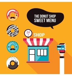 Donut icons Delicious dessert Food ordering Cafe vector image
