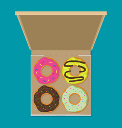 Donut set in box modern flat style vector