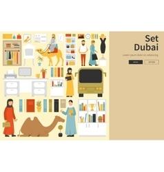 Dubai Big Collection in flat design concept vector image