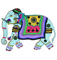 Entangle stylized color elephant hand drawn vector