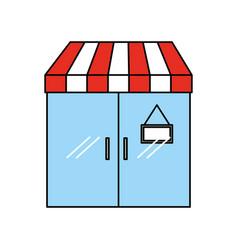 facade door store grocery glass board vector image