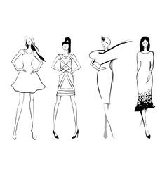Fashion modelsSketch Set of women or vector