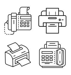 fax icon set outline style vector image