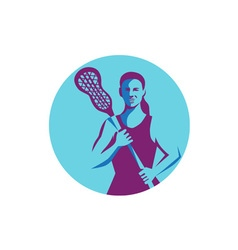 Female Lacrosse Player Stick Circle Retro vector