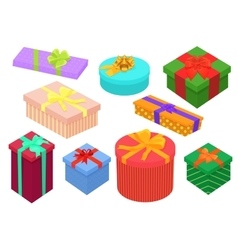 Flat design isometric gifts boxes set Bright vector image