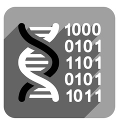 Genetical Code Flat Square Icon with Long Shadow vector image
