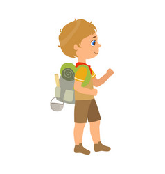 girl scout carrying a backpack side view a vector image
