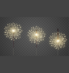 Glittering burning bengal light realistic vector
