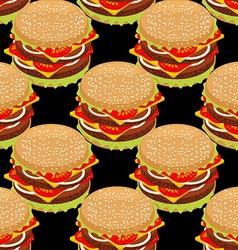 Hamburger seamless pattern Sandwich of patties and vector image