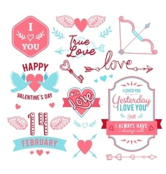 Hand-lettered vintage st valentines card elements vector