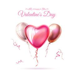Happy valentine day heart balloon ribbon vector