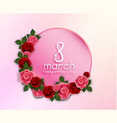 Happy womens day greeting round banner with red vector